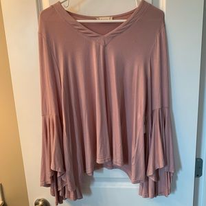Mauve shirt with long bell sleeves